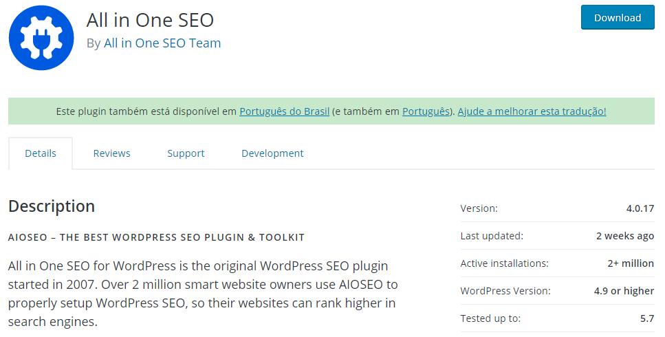 Página do Plugin no Diretório de Plugin do WordPress