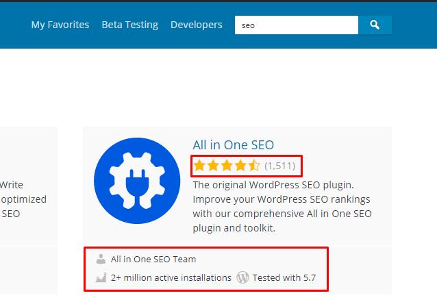 Resultado de uma pesquisa no diretório de plugins do WordPress