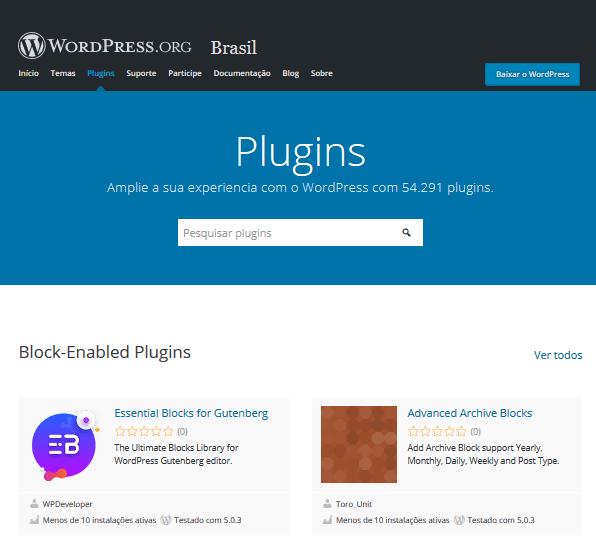 Diretório de Plugins do WordPress