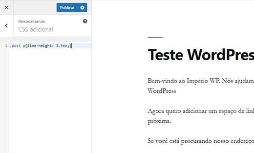 quebra de linha no WordPress