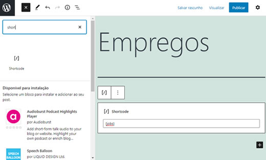 site de vagas de empregos com WordPress