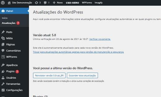Atualizações do WordPress