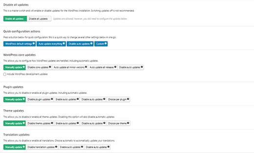 Configurando atualizações automáticas para WordPress, plugins e temas