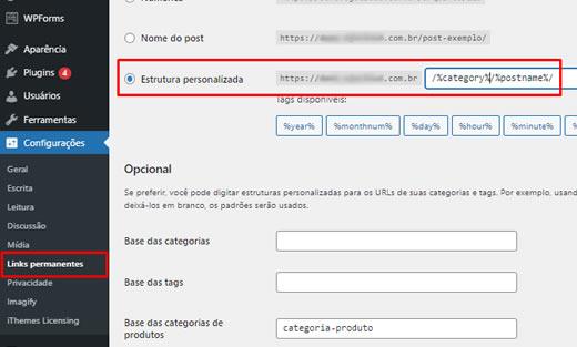 Usando categorias nas URLs de seus posts