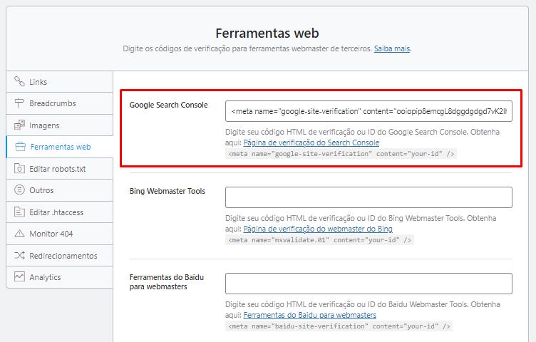 A página das Ferramentas do Google para webmasters no Rank Math SEO, para selecionar o Google Search Console.