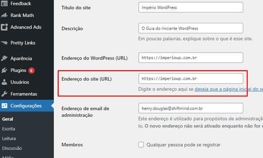 Copie a URL do site da página de configurações do WordPress