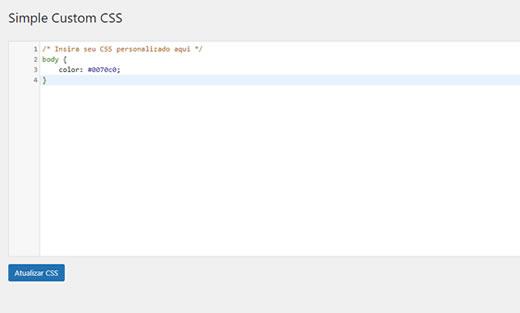 Adicionar código css com o plugin Simple Custom CSS