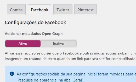 Adicionar metadados Open Graph Facebook