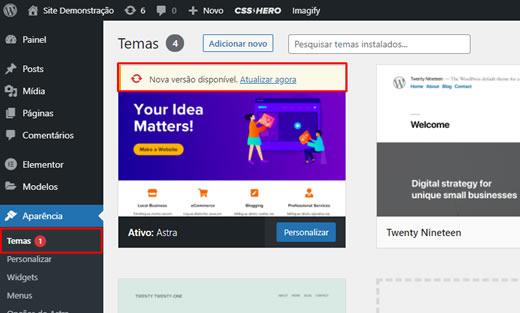 Notificações de Atualizações de Temas no WordPress