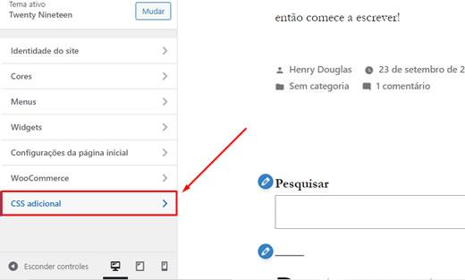 Opção CSS Adicional no Personalizador de Tema