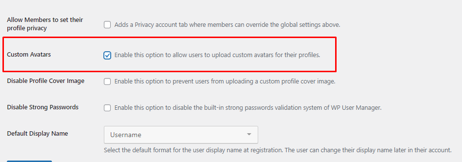 Permitir upload de avatares personalizados