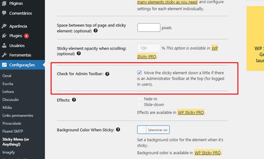 Habilitar a opção chacar barra de administração do WordPress