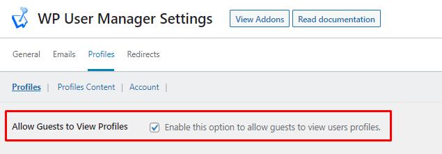 opção de página de perfil para convidados