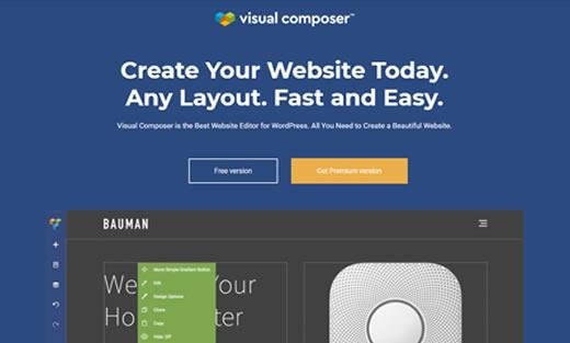 Construtor de Página Visual Composer